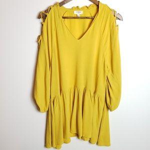Umgee Yellow Balloon Sleeve Dress